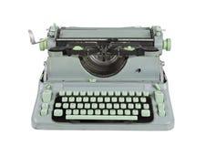 Macchina da scrivere verde degli anni 60 dell'annata isolata Fotografia Stock