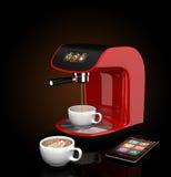 Macchina del caffè del caffè espresso con il touch screen in grado di controllare dallo Smart Phone Rappresentazione 3DCG con il  Immagine Stock Libera da Diritti