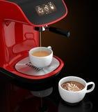 Macchina del caffè del caffè espresso con il touch screen in grado di controllare dallo Smart Phone Rappresentazione 3DCG con il  Fotografia Stock