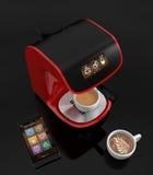 Macchina del caffè del caffè espresso con il touch screen in grado di controllare dallo Smart Phone Rappresentazione 3DCG con il  Fotografia Stock Libera da Diritti