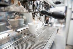 Macchina del caffè e di barista Fotografia Stock Libera da Diritti