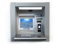 Macchina dell'atmosfera isolata su bianco Cash machine automatizzato della banca del cassiere Immagine Stock