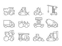 Macchina della costruzione Veicolo della mietitrice della gru del camion pesante del bulldozer per l'insieme lineare di costruzio royalty illustrazione gratis