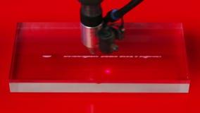 Macchina di CNC del laser che incide il modello di progettazione Fotografia Stock