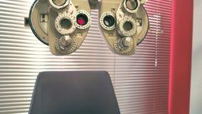 Macchina di gradazione del phoropter e della sedia, scorrevole macchina fotografica video d archivio