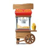Macchina di legno d'annata per produrre popcorn Fotografia Stock