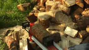 Macchina di spezzettamento di legno video d archivio