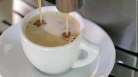 Macchina di versamento del caffè del caffè espresso video d archivio