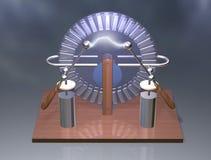 Macchina di Wimshurst con due barattoli di Leida illustrazione 3D del generatore elettrostatico fisica Esperimento delle aule di  fotografia stock libera da diritti