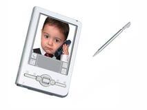 Macchina fotografica & stilo di Digitahi PDA sopra bianco Fotografie Stock