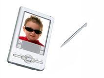Macchina fotografica & stilo di Digitahi PDA sopra bianco Fotografia Stock Libera da Diritti