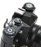 Macchina fotografica Analogue di SLR su priorità bassa bianca Immagini Stock Libere da Diritti