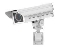 Macchina fotografica bianca o videocamera di sicurezza del cctv Fotografia Stock