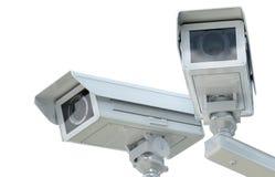 Macchina fotografica bianca o videocamera di sicurezza del cctv Immagini Stock