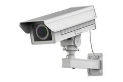 Macchina fotografica bianca o videocamera di sicurezza del cctv isolata su bianco Immagini Stock