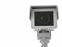 Macchina fotografica bianca o videocamera di sicurezza del cctv isolata su bianco Fotografie Stock Libere da Diritti