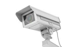 Macchina fotografica bianca o videocamera di sicurezza del cctv isolata su bianco Immagine Stock