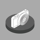 Macchina fotografica in bianco e nero della foto di vettore isometrica Fotografia Stock Libera da Diritti