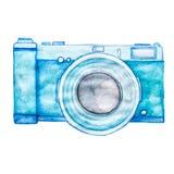 Macchina fotografica blu della foto dell'acquerello isolata su fondo bianco Fotografie Stock