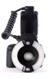 Macchina fotografica con Ringflaslight Fotografia Stock Libera da Diritti