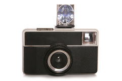 Macchina fotografica d'annata con il flash Fotografia Stock