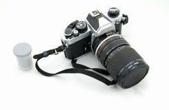 Macchina fotografica d'annata e film Fotografia Stock Libera da Diritti