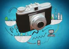 macchina fotografica 3D davanti a tecnologia ed ai disegni grafici della città Fotografia Stock
