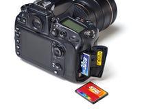 Macchina fotografica dei CF e di DSLR del flash card isolata Immagine Stock Libera da Diritti