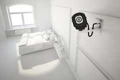 Macchina fotografica del Cctv in camera da letto Fotografie Stock Libere da Diritti