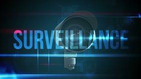 Macchina fotografica del CCTV con il testo di sorveglianza