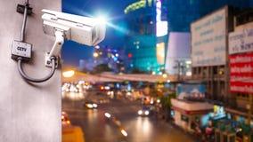 Macchina fotografica del CCTV di sicurezza installata sul palo concreto fotografia stock libera da diritti