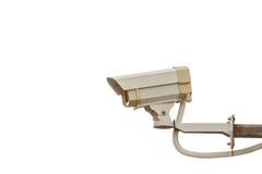 Macchina fotografica del CCTV di sicurezza isolata su bianco Fotografia Stock Libera da Diritti