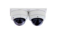 Macchina fotografica del CCTV di sicurezza, isolata su fondo bianco con il ritaglio Fotografia Stock Libera da Diritti