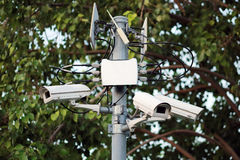 Macchina fotografica del CCTV o funzionamento di sorveglianza fotografie stock libere da diritti