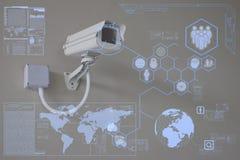 Macchina fotografica del CCTV o tecnologia di sorveglianza sulla visualizzazione Immagine Stock