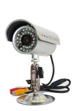 Macchina fotografica del CCTV per videosorveglianza sul supporto del metallo immagine stock libera da diritti