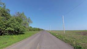 Macchina fotografica del cruscotto in automobile, movente in Dobrogea, la Romania stock footage