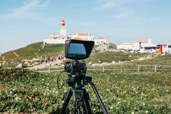 Macchina fotografica del primo piano per la videocamera o del foto fotografie stock libere da diritti
