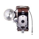 Macchina fotografica dell'annata con il flash Fotografie Stock
