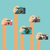 Macchina fotografica dell'annata della tenuta della mano Fotografie Stock