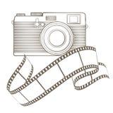 Macchina fotografica della foto dell'annata con la scenetta Fotografia Stock Libera da Diritti