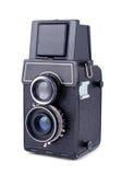 Macchina fotografica della foto dell'obiettivo dell'annata due isolata Fotografia Stock
