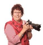Macchina fotografica della signora In Red With A Immagini Stock
