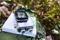 Macchina fotografica di azione per catturare i vostri video Adatto a viaggio di automobile, sport, immersione subacquea, immagini stock
