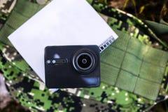 Macchina fotografica di azione per catturare i vostri video Adatto a viaggio di automobile, sport, immersione subacquea, immagini stock libere da diritti