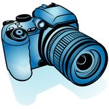 Macchina fotografica di Digitahi blu Immagini Stock