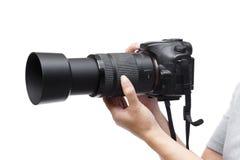 Macchina fotografica di Digitahi con l'obiettivo di zoom Immagini Stock Libere da Diritti