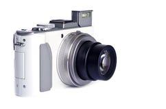 Macchina fotografica di Digitahi del tiro e del punto isolata su bianco Immagine Stock Libera da Diritti
