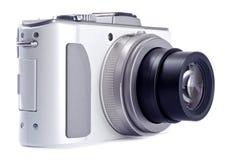 Macchina fotografica di Digitahi del tiro e del punto isolata su bianco Fotografie Stock Libere da Diritti