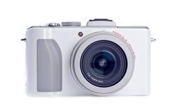 Macchina fotografica di Digitahi del tiro e del punto isolata su bianco Fotografia Stock